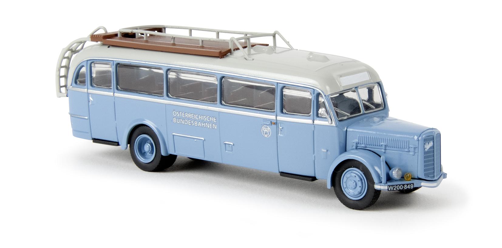 H0 BREKINA Hanomag L 28 Lohner Bus ÖBB Österreichische Bundesbahnen # 58185