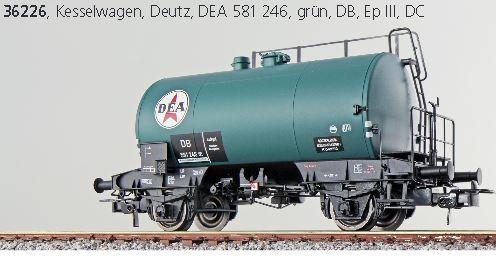 ESU 36226  Kesselwagen DC DEA 581 246 H0 grün DB Ep III Deutz